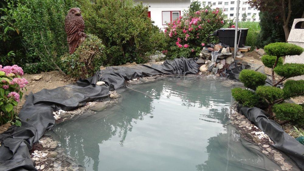 Der Teich ist bereit für die Bepflanzung